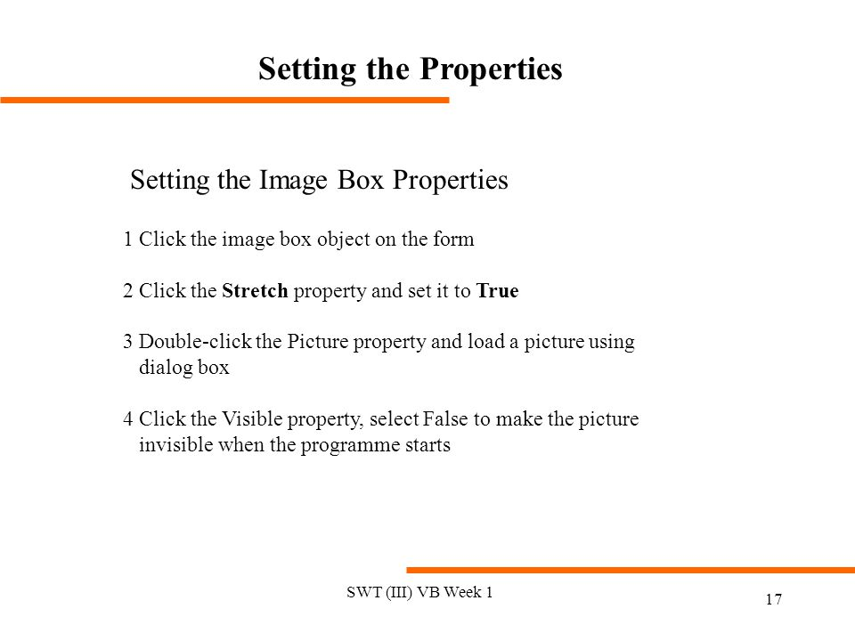 Setting the Properties