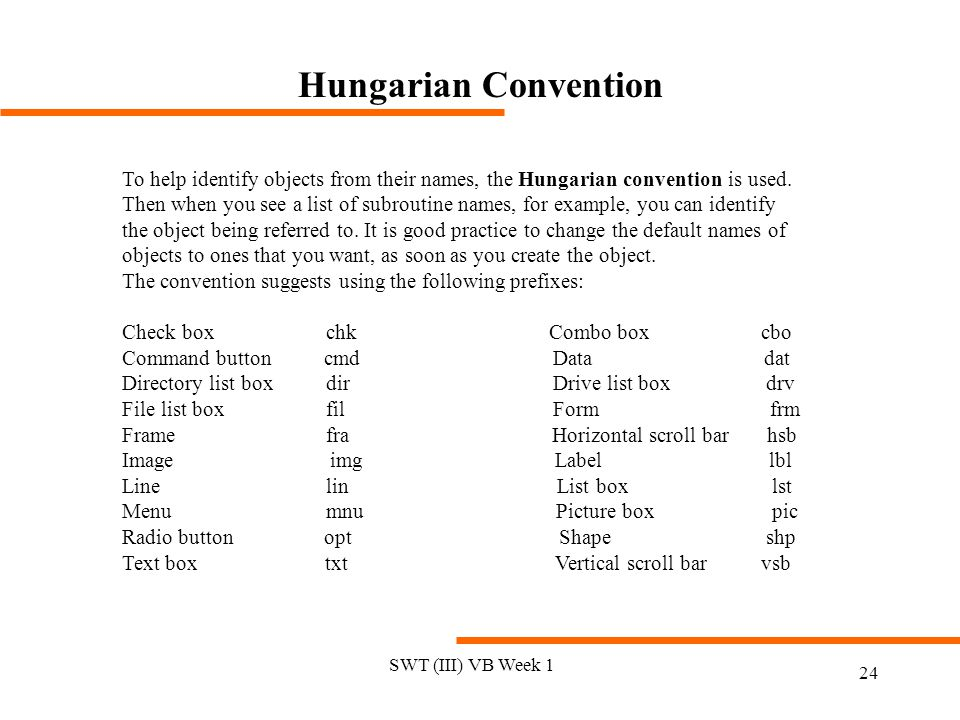 Hungarian Convention To help identify objects from their names, the Hungarian convention is used.