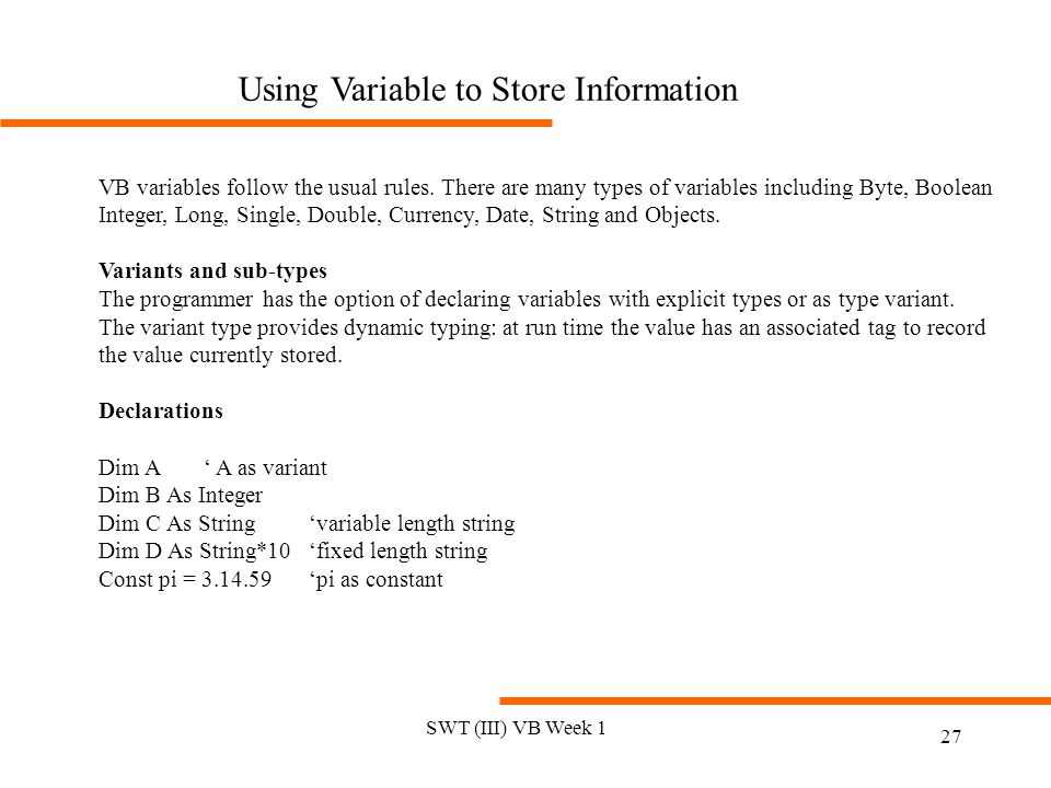 Using Variable to Store Information