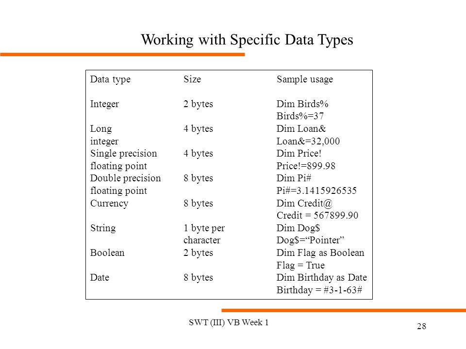 Working with Specific Data Types