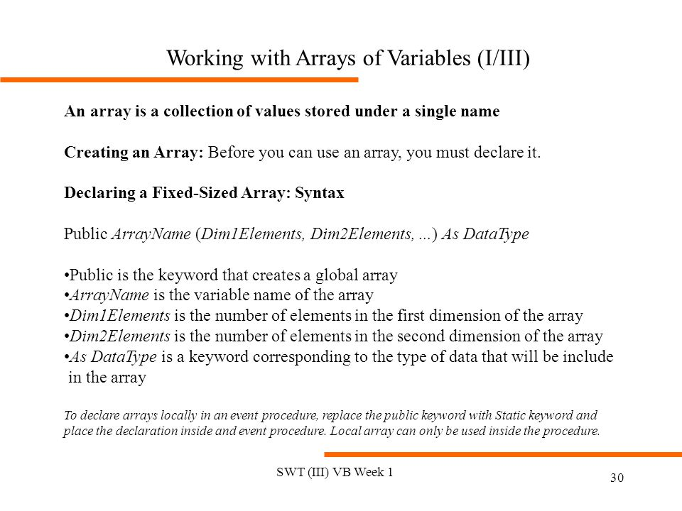 Working with Arrays of Variables (I/III)