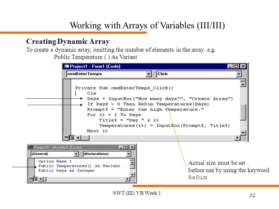 Working with Arrays of Variables (III/III)