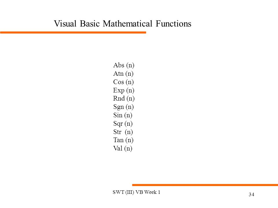 Visual Basic Mathematical Functions