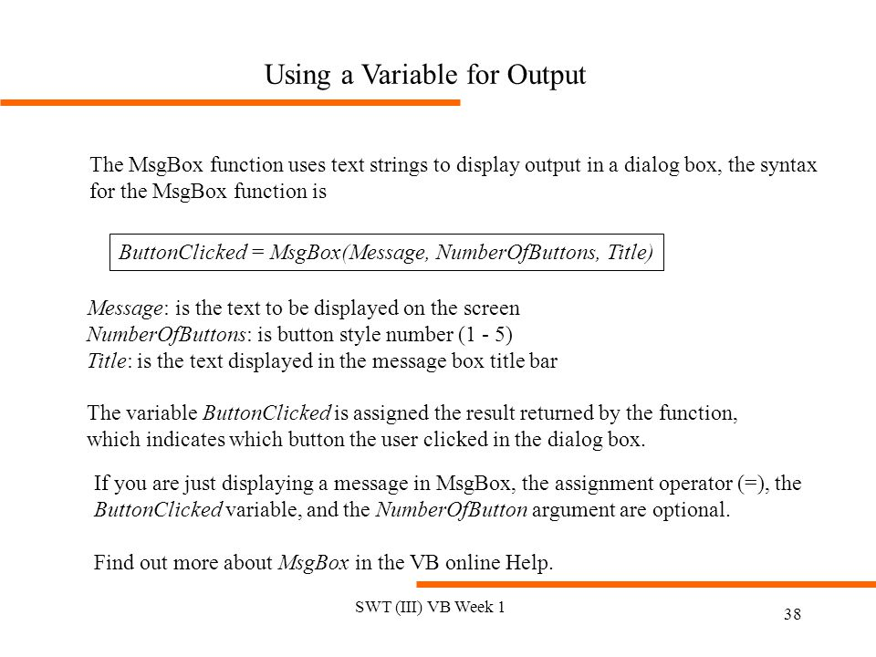 Using a Variable for Output