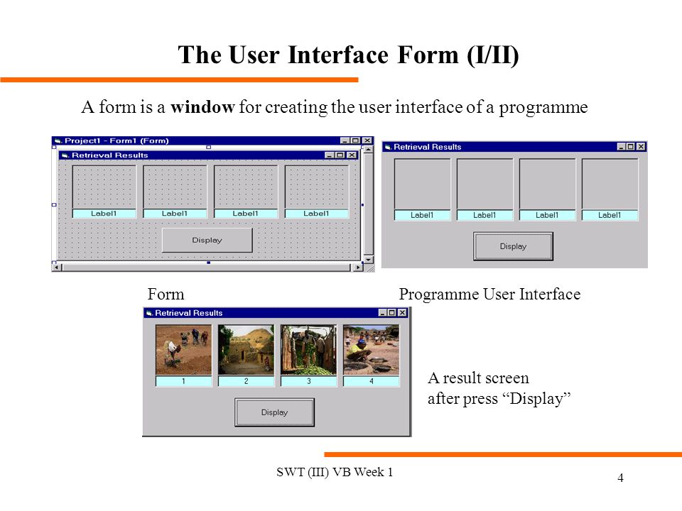 The User Interface Form (I/II)