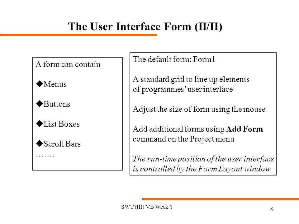 The User Interface Form (II/II)