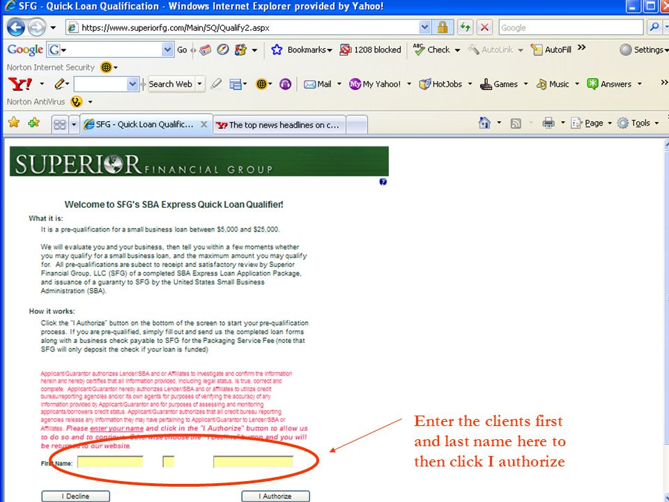 Enter the clients first and last name here to then click I authorize