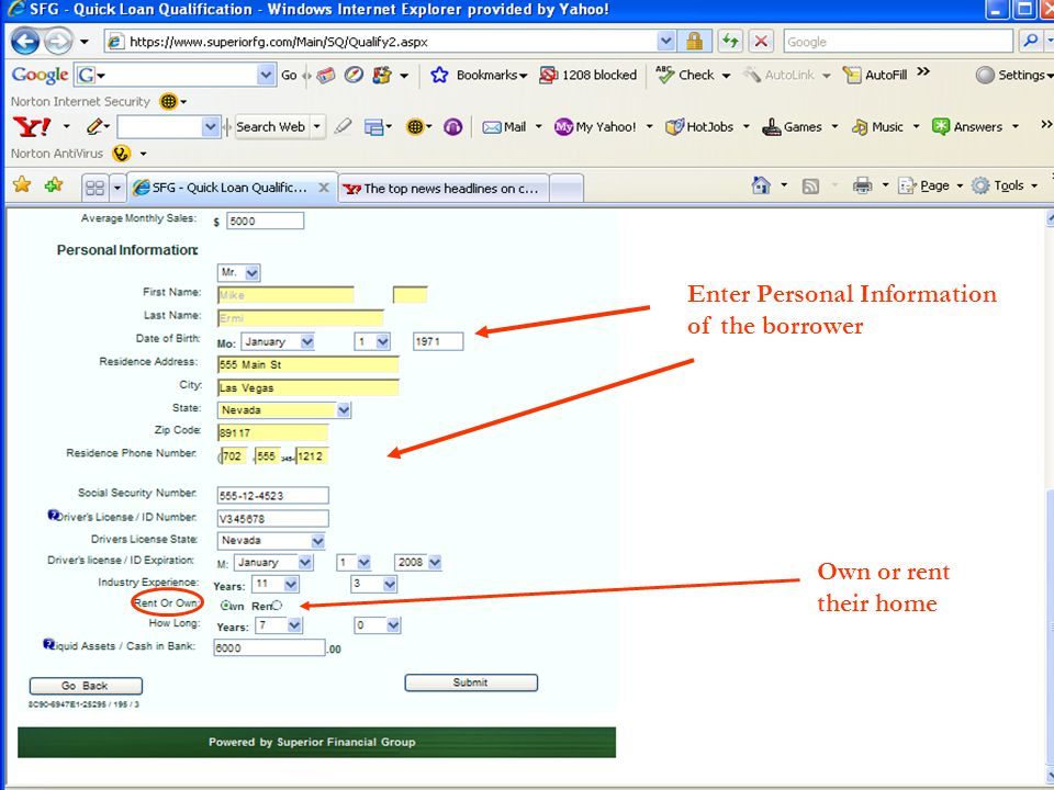 Enter Personal Information of the borrower