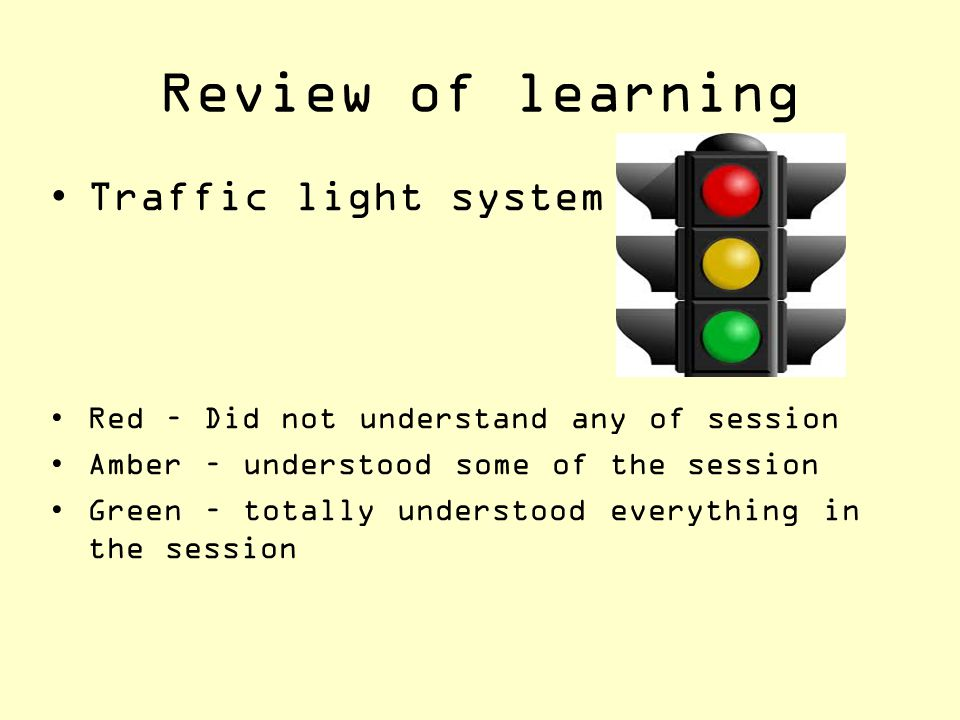 Review of learning Traffic light system
