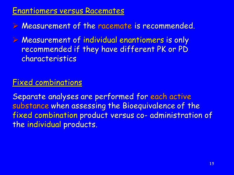 Enantiomers versus Racemates