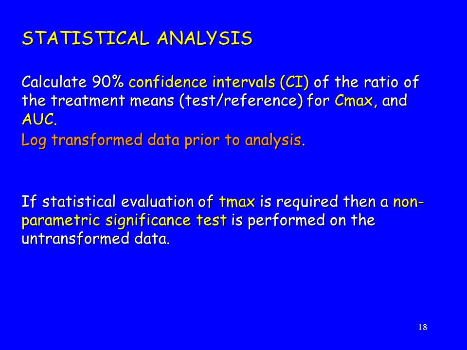 STATISTICAL ANALYSIS Calculate 90% confidence intervals (CI) of the ratio of the treatment means (test/reference) for Cmax, and AUC.