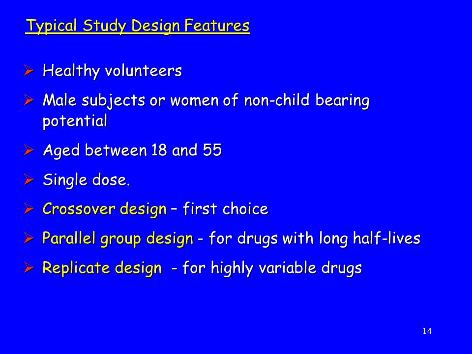 Typical Study Design Features
