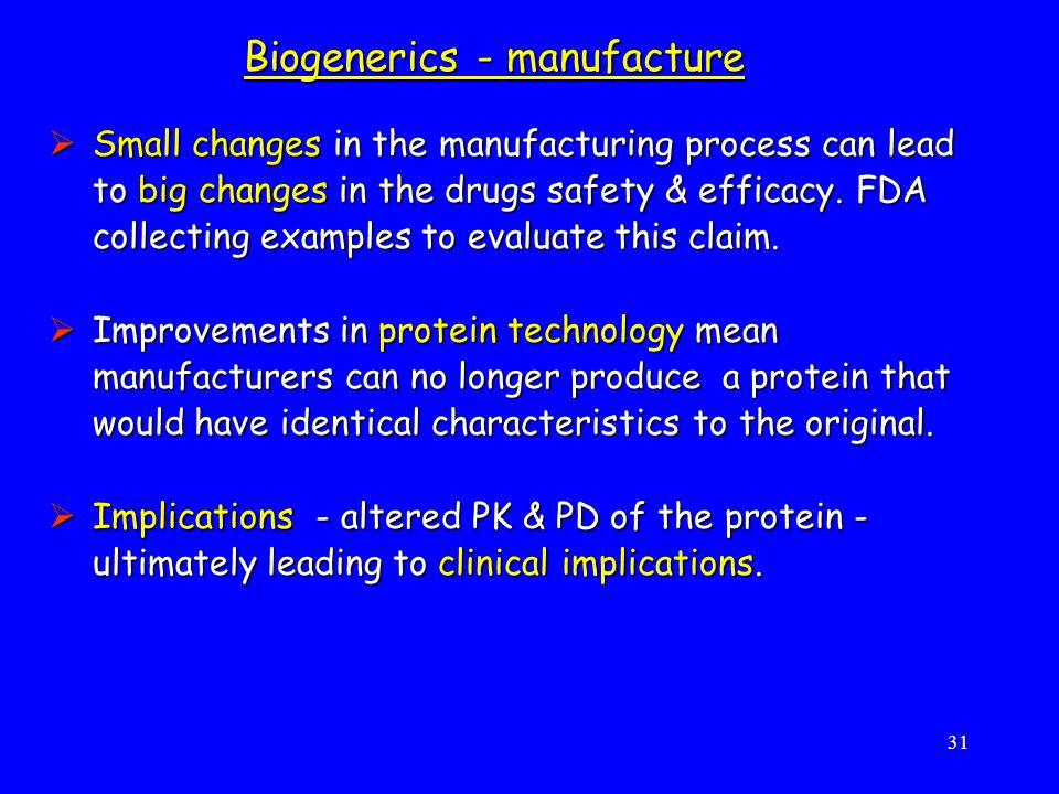 Biogenerics - manufacture