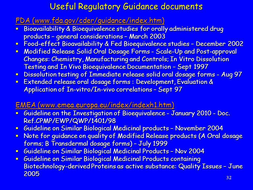 Useful Regulatory Guidance documents