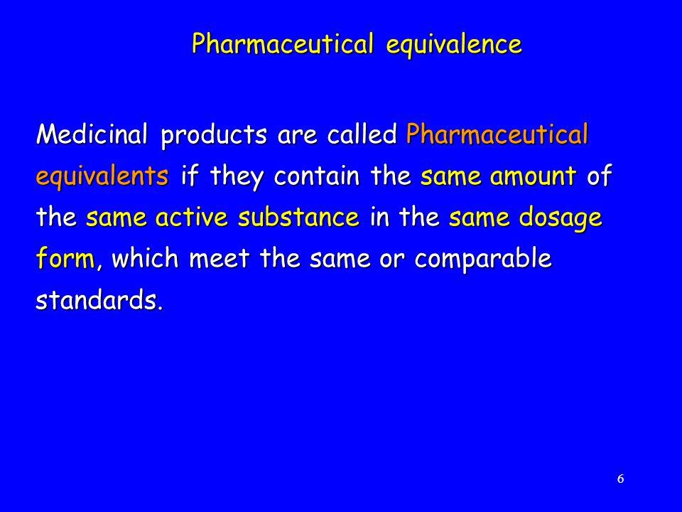Pharmaceutical equivalence