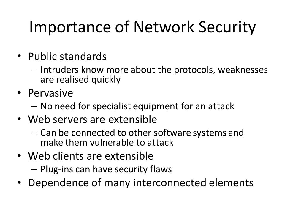 the various ways to ensure network security Security for cloud computing: ten steps to different security requirements and organizations need to rethink perimeter security at the network level.