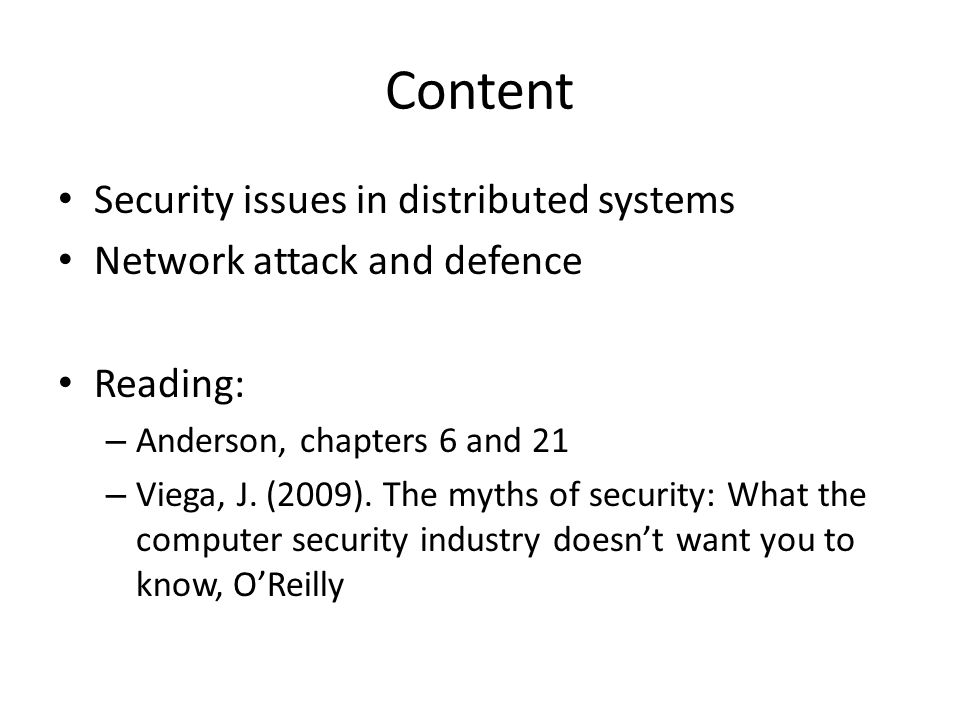 Content Security issues in distributed systems