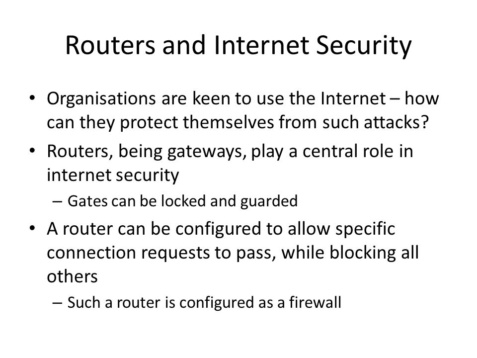 Routers and Internet Security