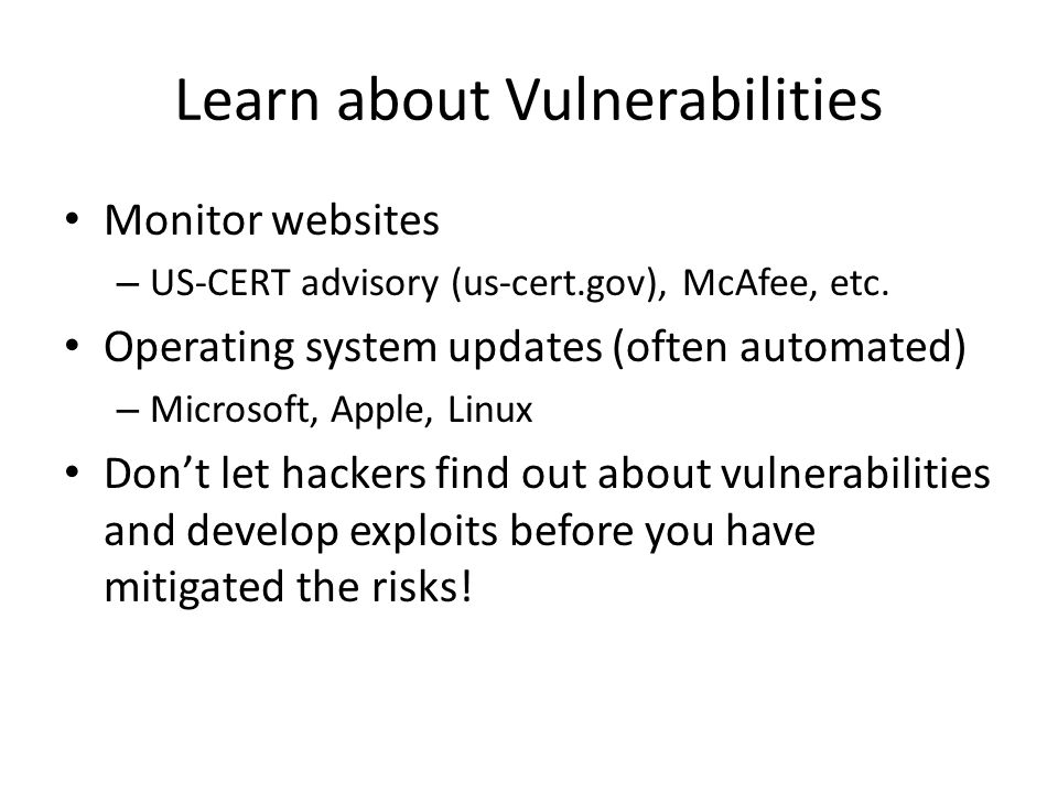 Learn about Vulnerabilities