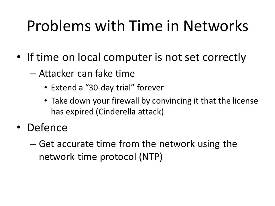 Problems with Time in Networks