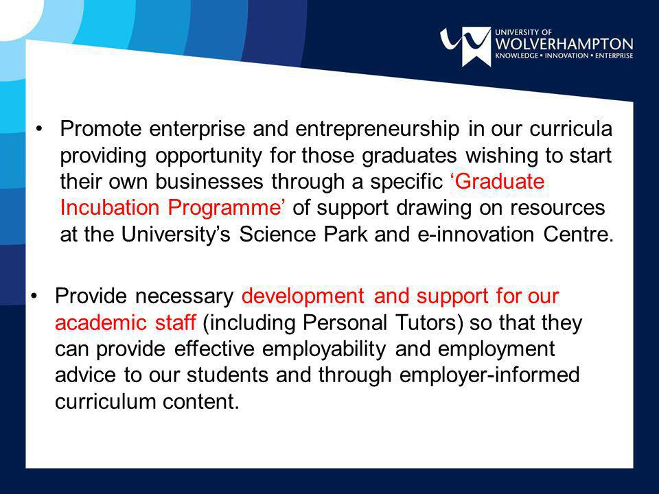 Promote enterprise and entrepreneurship in our curricula providing opportunity for those graduates wishing to start their own businesses through a specific 'Graduate Incubation Programme' of support drawing on resources at the University's Science Park and e-innovation Centre.