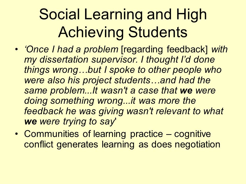 Social Learning and High Achieving Students