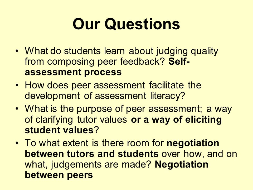 Our Questions What do students learn about judging quality from composing peer feedback Self-assessment process.