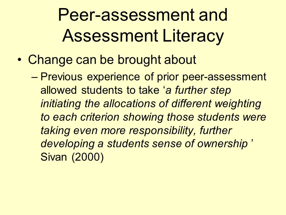 Peer-assessment and Assessment Literacy