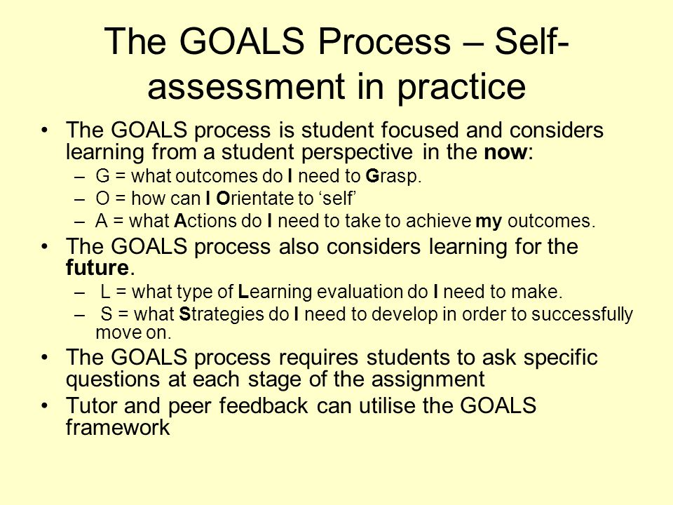 The GOALS Process – Self-assessment in practice