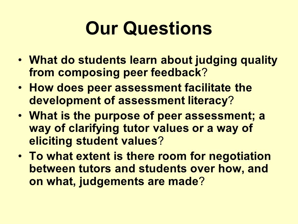 Our Questions What do students learn about judging quality from composing peer feedback
