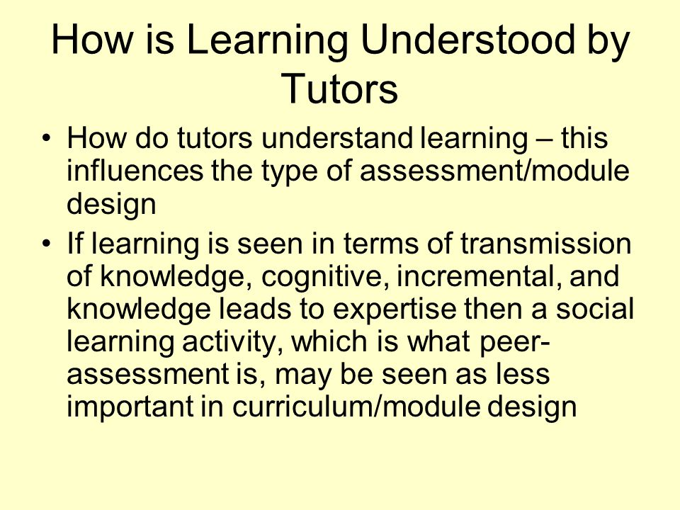 How is Learning Understood by Tutors