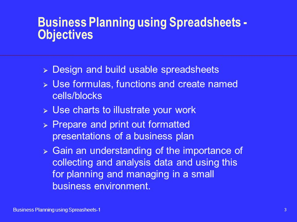 Business Planning using Spreadsheets - Objectives