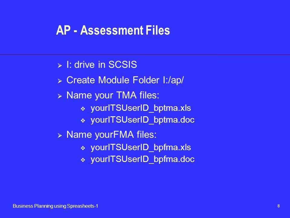 AP - Assessment Files I: drive in SCSIS Create Module Folder I:/ap/