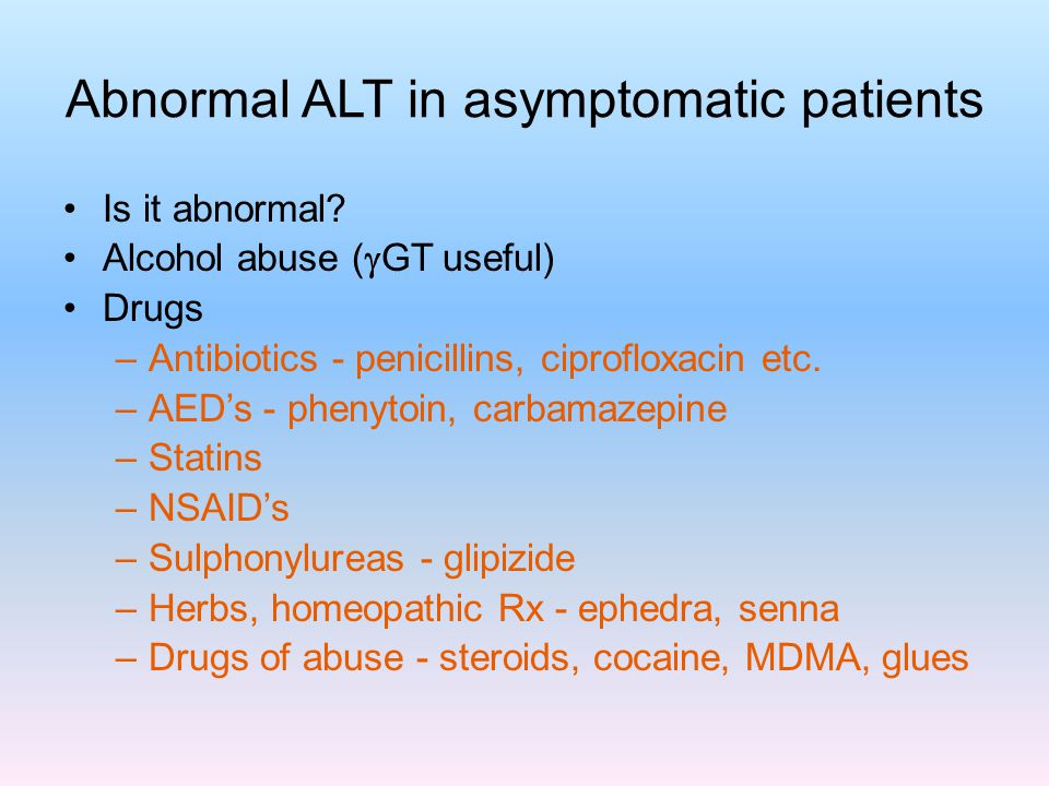 Abnormal ALT in asymptomatic patients