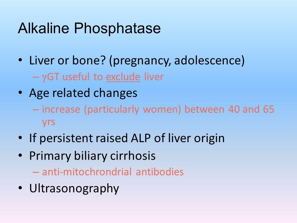 Alkaline Phosphatase Liver or bone (pregnancy, adolescence)