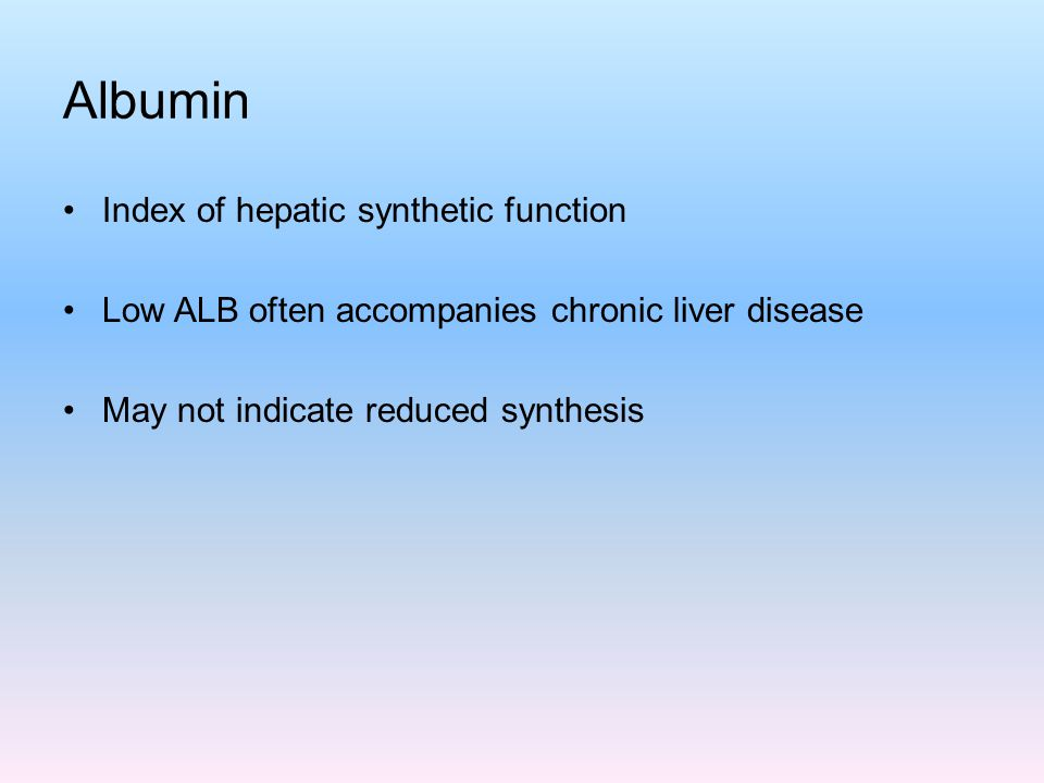 Albumin Index of hepatic synthetic function