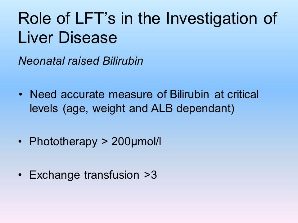 Role of LFT's in the Investigation of Liver Disease
