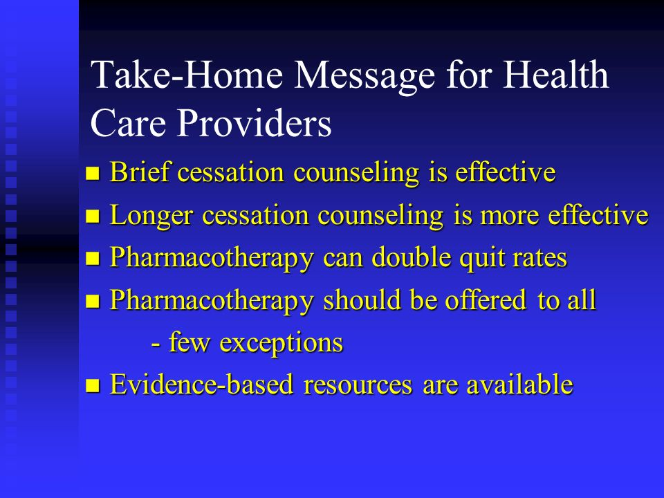 Take-Home Message for Health Care Providers