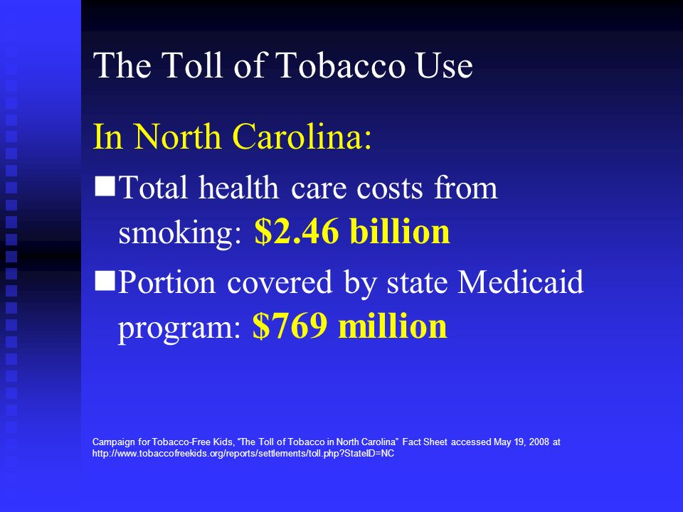 The Toll of Tobacco Use In North Carolina: