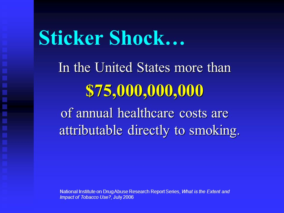 Sticker Shock… $75,000,000,000 In the United States more than
