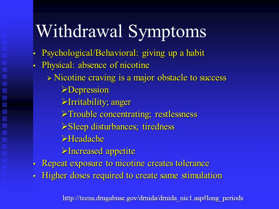 Withdrawal Symptoms Psychological/Behavioral: giving up a habit