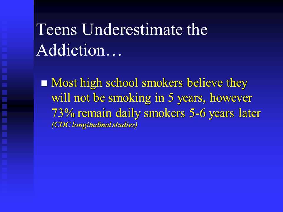 Teens Underestimate the Addiction…
