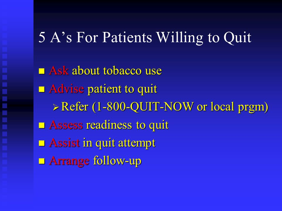 5 A's For Patients Willing to Quit
