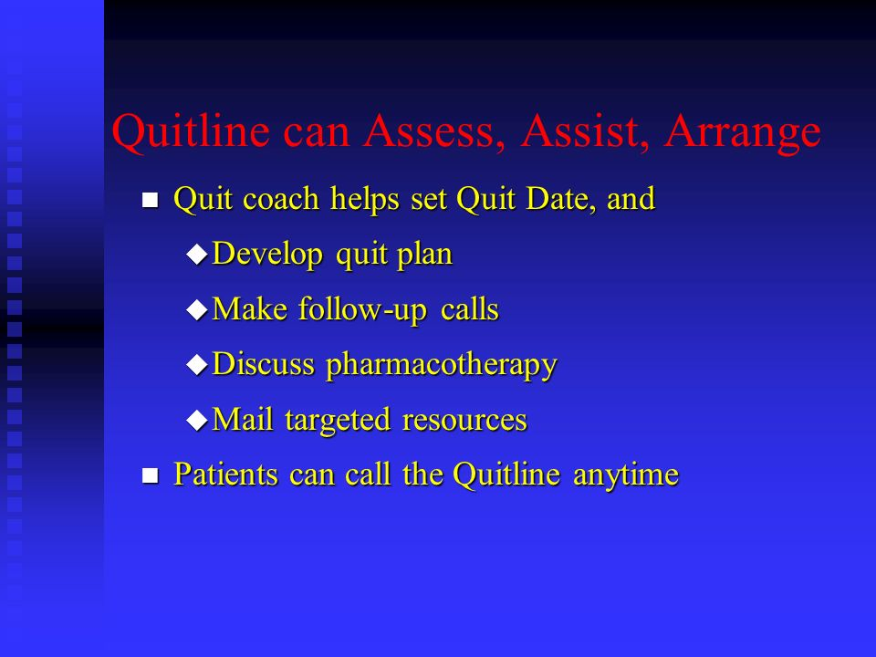 Quitline can Assess, Assist, Arrange