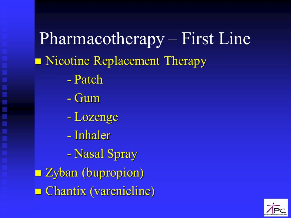 Pharmacotherapy – First Line