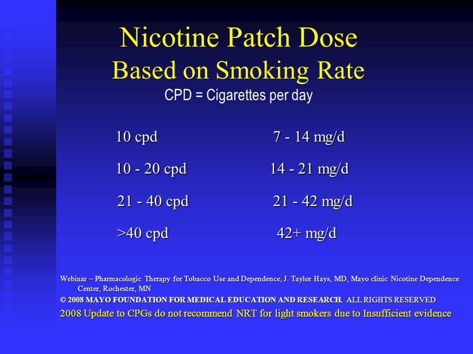Nicotine Patch Dose Based on Smoking Rate CPD = Cigarettes per day