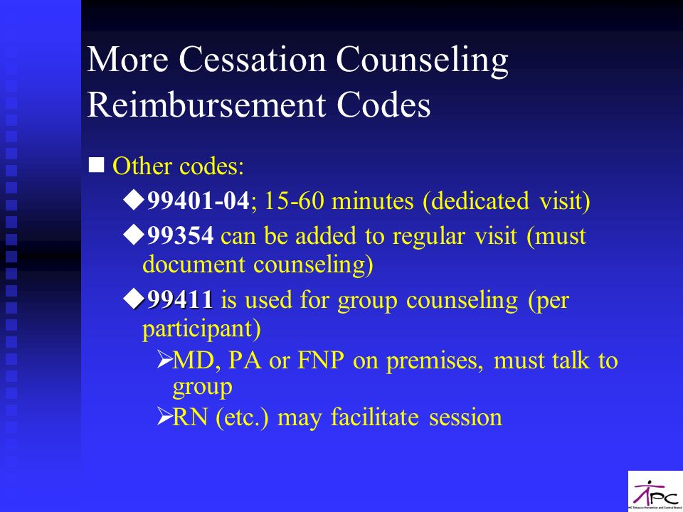 More Cessation Counseling Reimbursement Codes