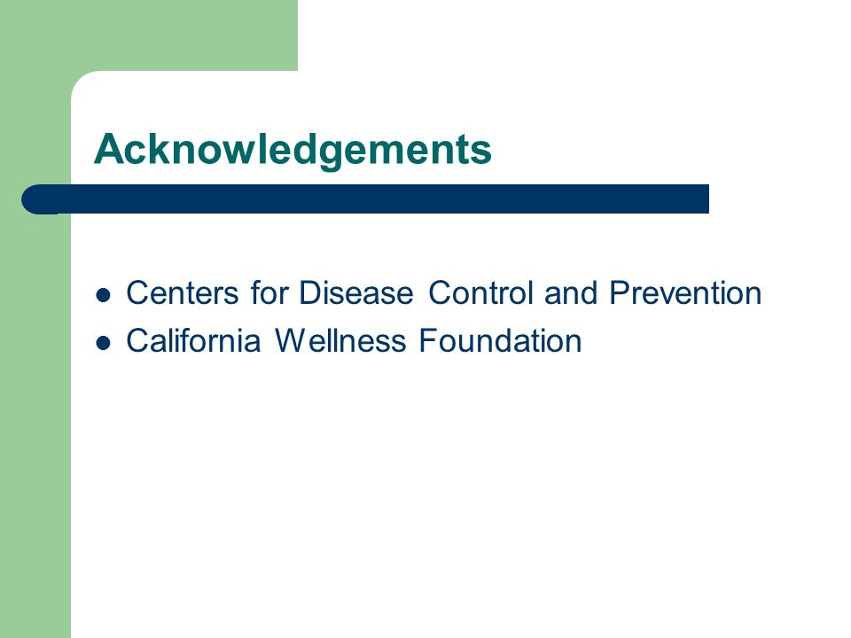 Acknowledgements Centers for Disease Control and Prevention