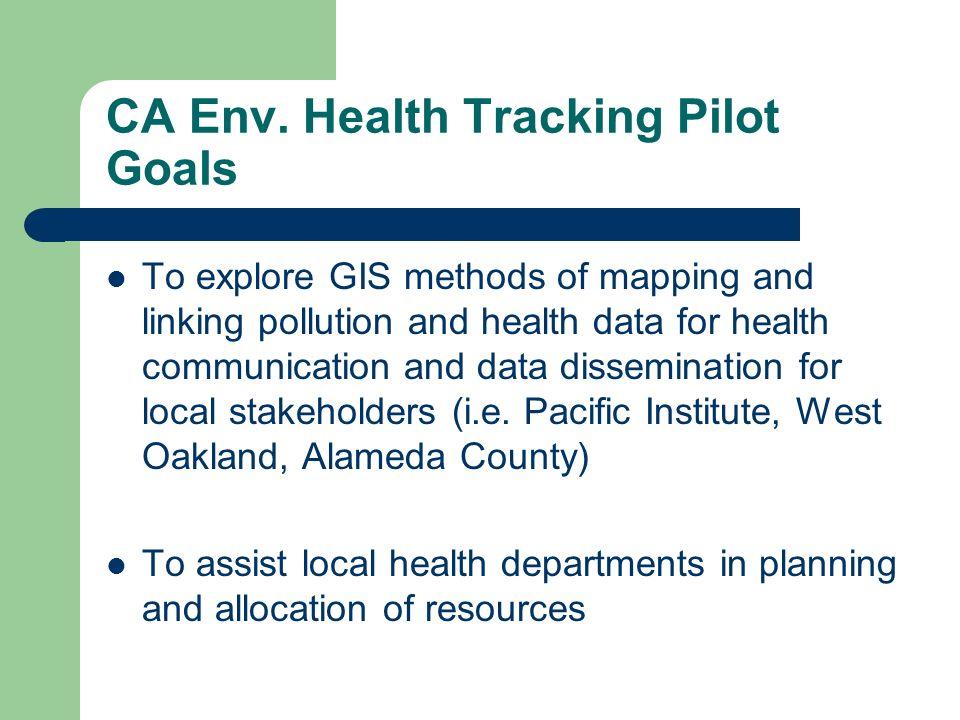 CA Env. Health Tracking Pilot Goals