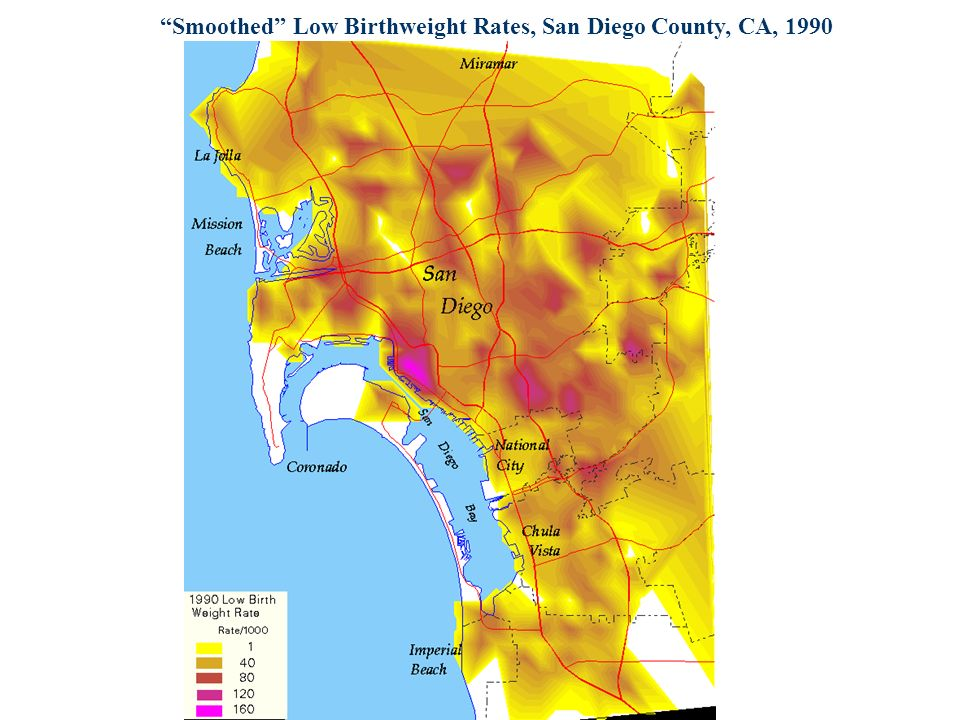 Smoothed Low Birthweight Rates, San Diego County, CA, 1990